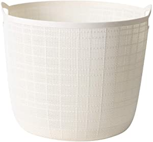 ZQ&QY Plastic Large Capacity Laundry Hamper with Handle,Storage Laundry Basket,Hollow Breathable Storage Basket for Bathroom Balcony Beige 16x16x17cm(6x6x7inch)