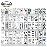60 Sheets Temporary Tattoo Stickers Various Designs Removable Waterproof Temporary Tattoos Body Art Sticker Sheet Paper ( Wings, Letters, Stars, Queen, Cats, Totem, Cardiogram hot Etc. )