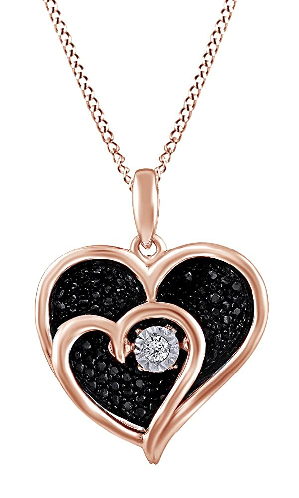 Jewel Zone US 1//10 Ct Black /& Real Diamond Double Heart Pendant with Chain in 14k Gold Over Sterling Silver