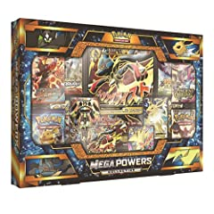 Flying fists, crackling lightning, and powers like no others: the four Pokemon-EX in the Mega Powers Collection make an excellent addition to your team! Bring these four fantastic full-art Pokemon-EX to your collection, along with a whopping ...