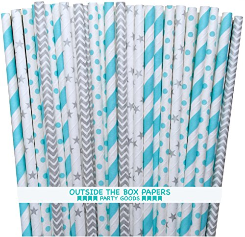 Outside the Box Papers Cinderella Theme Chevron, Star, Polka Dot and Striped Paper Straws 7.75 Inches 100 Pack Light Blue, Silver, White -