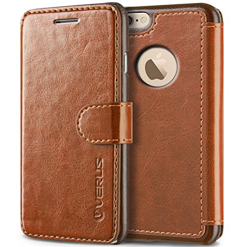 VRS Design [Brown] Premium Leather Folio Case Flip Wallet Cover [Layered Dandy] Classic Leather with 3 Card Slots Phone Case for Apple iPhone 6 Plus / iPhone 6s Plus
