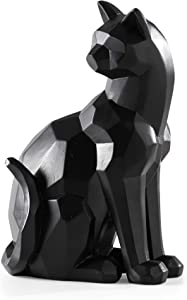 Torre & Tagus 902286B Carved Angle Sitting Cat Décor, Black