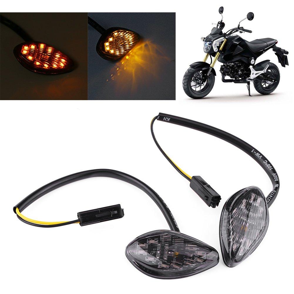 1 Paire Moto Clignotant LED,Keenso Moto Ambre Feux de Signalisation Flush Universel Jaune Lumi/ère 12V