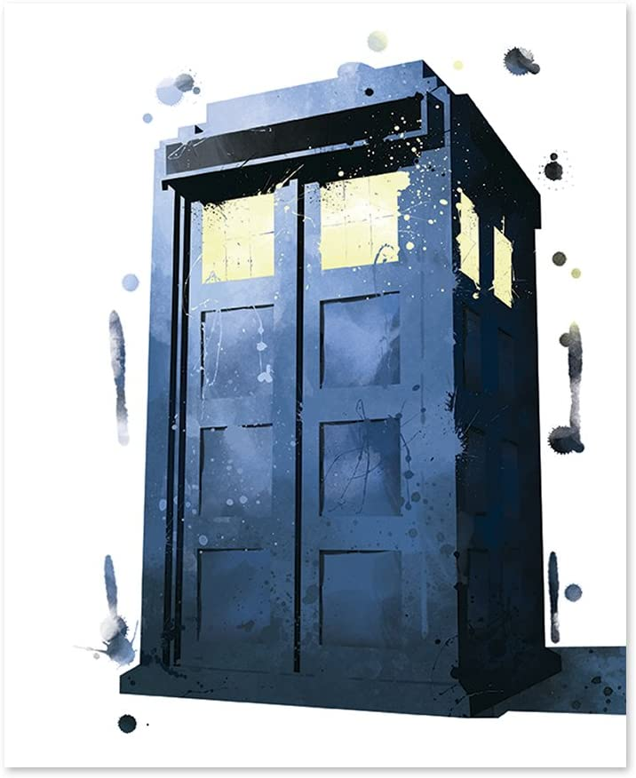 8x10 P45 Dr. Who Inspired Poster Watercolor Print Wall Art Home Decor.Tardis art.Inspirational Motivational Home Office Print