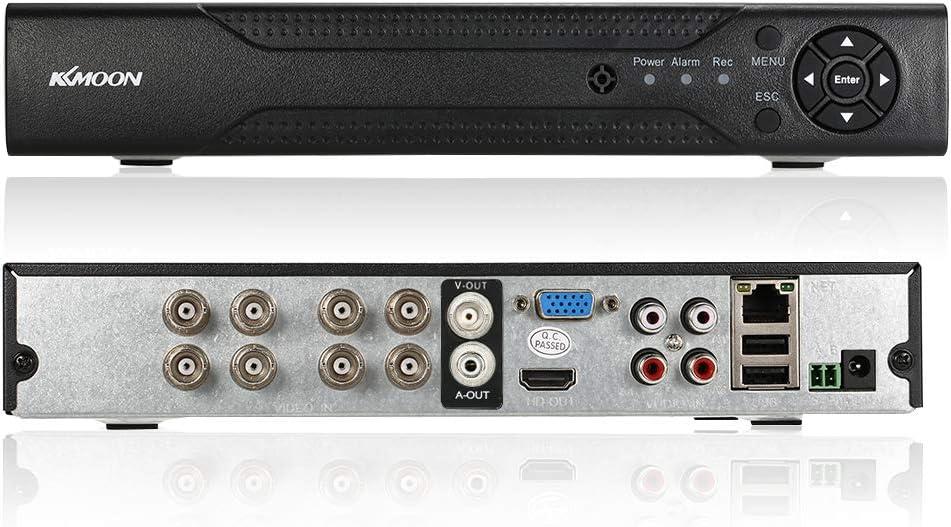 KKmoon 8CH Canales AHD DVR NVR Full 1080N/720P (P2P, Network Onvif, Grabador de Video Digital, Soporta Plug y Play, Android/iOS APP, Detección de Movimiento, Email Alarma, PTZ para 2000TVL CCTV Cámara