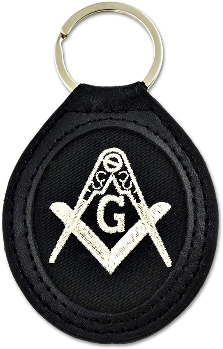 Embroidered Leather Square & Compass Masonic Key Chain - [Black & Silver][3 5/8'' Tall]