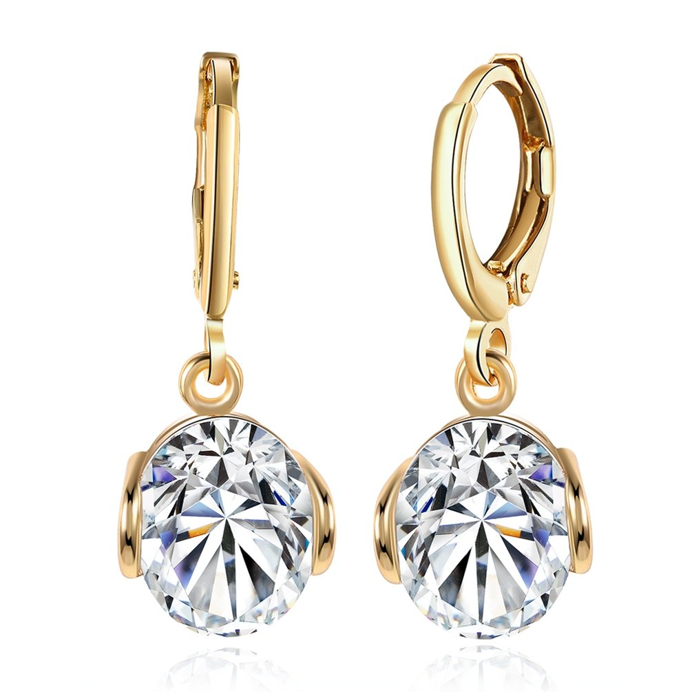 FENDINA Fashion Jewelry Women's 18K Champaign Gold Plated Simulated White Sapphire Huggie Dangle Earrings Imitation CZ Diamond Earrings