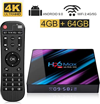 H96 MAX Android 9.0 TV Box with 4GB RAM 64GB ROM RK3318 Quad Core 64 bit CPU, Smart TV Box Support 2.4/5.0G Wi-Fi,USB 3.0,3D 4K Ultra HD,HDMI 2.0,BT 4.0: Amazon.es: Electrónica