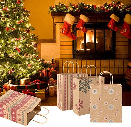Christmas Decorations - 30 PCS Christmas Holiday Classic Variety Kraft Gift Bags Bulk with Christmas Prints - Good for Christmas Goody Bags,Xmas Party Favors, Holiday Treat Box and Party Favors