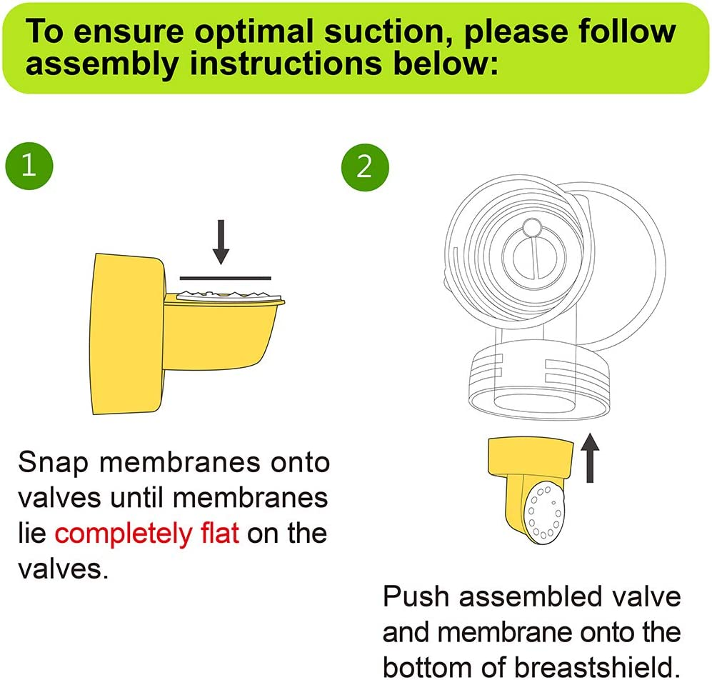 Nenesupply Membranes and Valves Compatible with Medela Breastpumps Compatible with Medela Pump in Style Swing Symphony Harmony Manual Not Original Medela Pump Parts Replace Medela Membrane and Valve