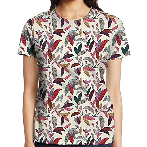 WuLion Plant Swirls Leaves in Modern Hand Painted Like Image with Cream Women's 3D Print T Shirt S ()