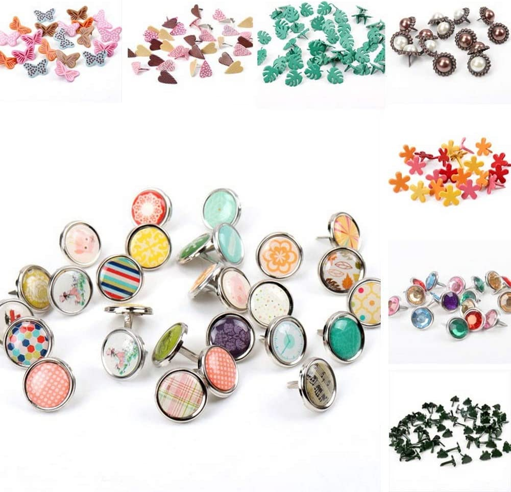 #20 15mm 10pcs Pastel Brads Assorted Colored MixStuds Spikes for Clothes Round Square Brads Scrapbook Scrapbooking Embellishment Fastener Making and DIY Craft
