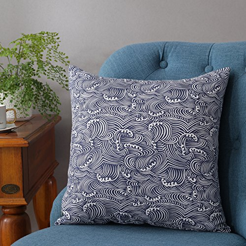 TAOSON Dark Blue/Navy Blue Waves Pattern Cotton Flax Soft Home Decorative Throw Cushion Cover Pillow Cover Pillowcase with Hidden Zipper Closure Only Cover No Insert 24x24 Inch 60x60cm