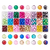 Pandahall Elite 1 Box (About 600 pcs) 24 Color 8mm Handcrafted Crackle Lampwork Glass Round Beads Assortment Lot for Jewelry Making