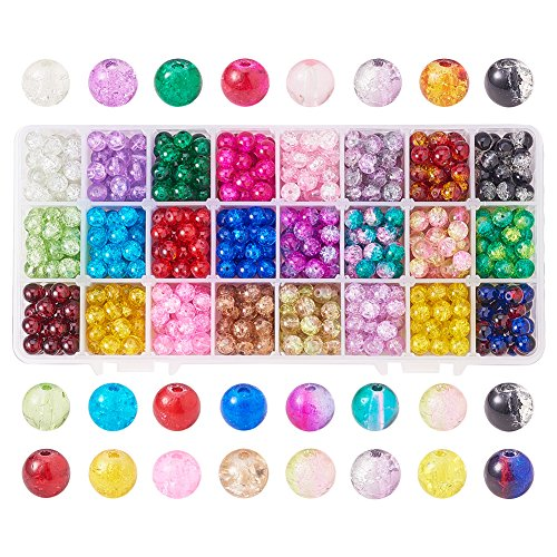 Pandahall Elite 1 Box (About 600 pcs) 24 Color 8mm Handcrafted Crackle Lampwork Glass Round Beads Assortment Lot for Jewelry -