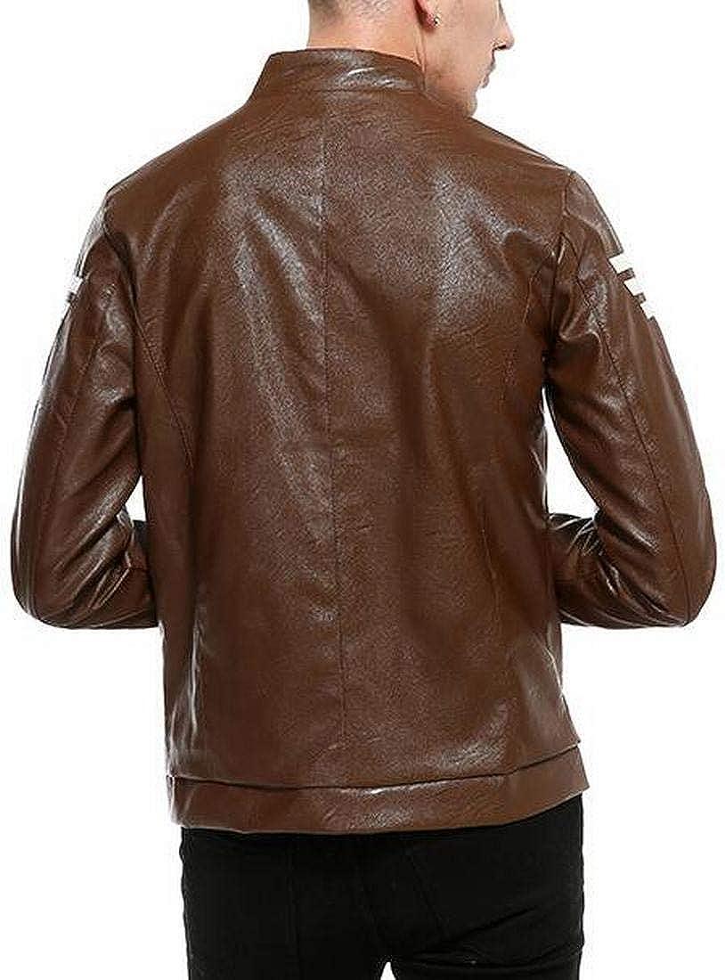 BOBOYU Mens Stand Collar Plus Size Slim Full-Zip Pu Leather Moto Biker Jacket Coat