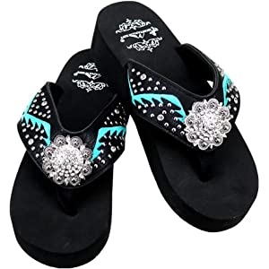 84cc5390e8b34 Montana West Women s Hand Beaded Flip Flop Sandals