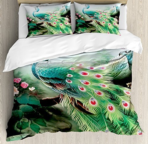 - wanxinfu Peacock 3 Piece Bedding Set Duvet Cover Set Full Size, Summer Flower Fantasy Garden in Vibrant Colors Painting Effects Nature Art Print, 3 Pcs Comforter Cover Set with 2 Pillow Cases