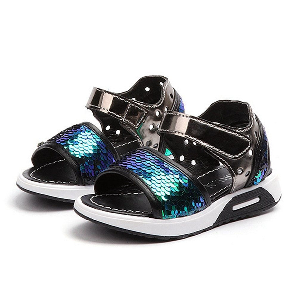 CYBLING Girls Athletic Sandals Glitter Sequins Summer Beach Sport Shoes (Toddler/Little Kid)
