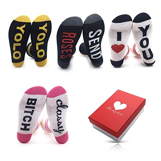 Crew Girls Womens Socks Fun - Valentine Day Christmas Gifts for Her ...