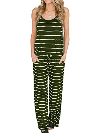 0e8221d7f8cd Famulily Womens Soft Casual Striped Pajama Jumpsuit Ladies Loose Sleeveless  Wide Leg Long Pants Romper(