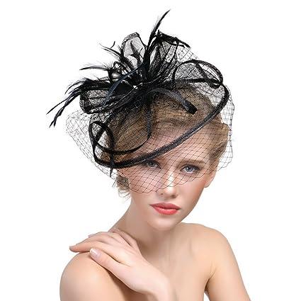 donne ragazze fascinator cappello elegante piuma Hairpin in tulle con  copricapo da sposa piuma capelli c26d8c360402