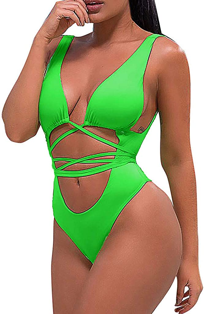 Women Belly Bikini NDGDA Ladies 1 Piece Solid Color Strap Backless Swimwear Beachwear