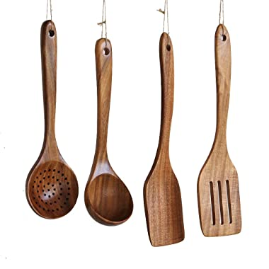 Wooden Cooking Utensils Kitchen Utensil, Natural Take Wood Kitchen Utensils Set - Nonstick Hard Wooden Spatula and Wooden Spoons