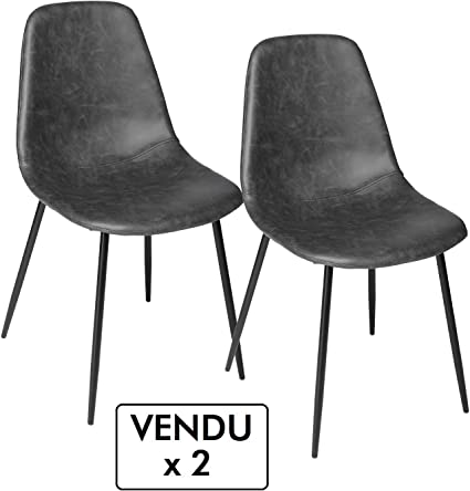 Atmosphera Lotto di 2 sedie vintage Stile industriale Colore GRIGIO invecchiato