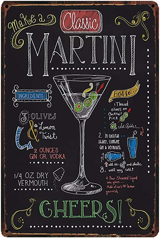 Wall Decorative Sign Cocktail 12 x 8 Retro Embossed Metal Tin Sign Enjoy A Refreshing Mimosa