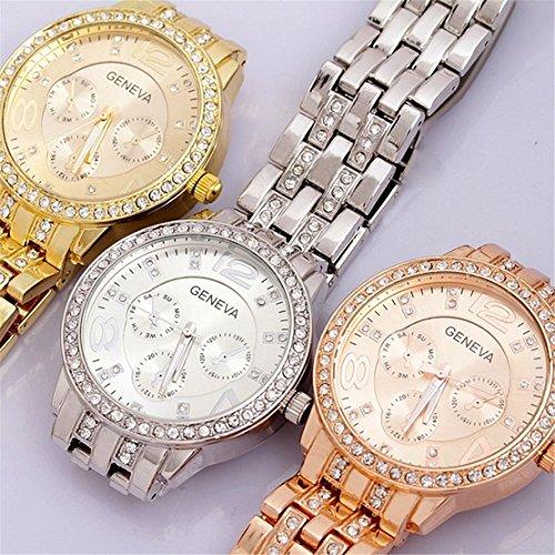 Viliysun Hot Unisex 3pcs/lot Crystal Geneva Bling Women Girl Stainless Steel Quartz Wrist Watch