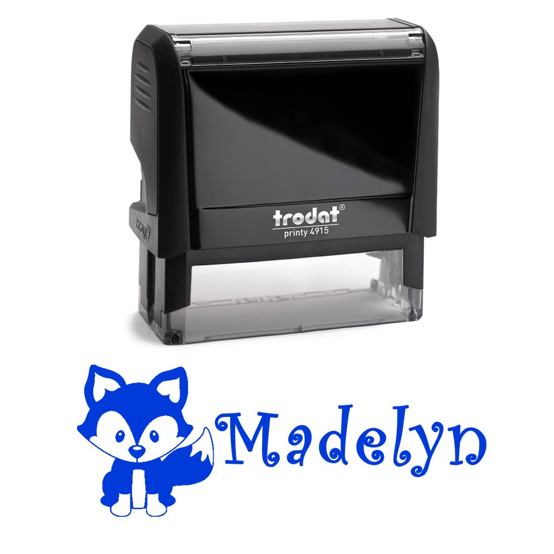 Personalized Name Self Inking Stamp, Fox Stamp, Custom Stylish Font, Customized with Name, Rubber Stamp, Naming Stamp, Children's Signature Stamper, School Book Label Name, Kids Stamp (Blue)