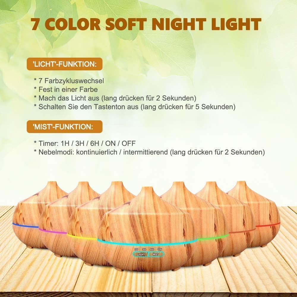 Spa, Büro,Yoga Ultra Leise BPA-Free Öl Diffuser mit 15 Farben LED