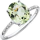 Miore Damen Ring 9 Karat 375 Gold Grüner Amethyst mit Diamant Brillianten Weißgold