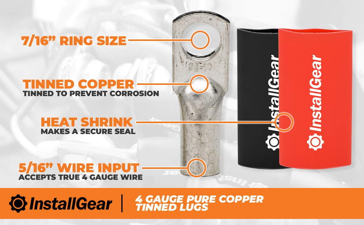 InstallGear 4 Gauge AWG Tinned Pure Copper Lugs Ring Terminals Connectors with Heat Shrink 10-Pack