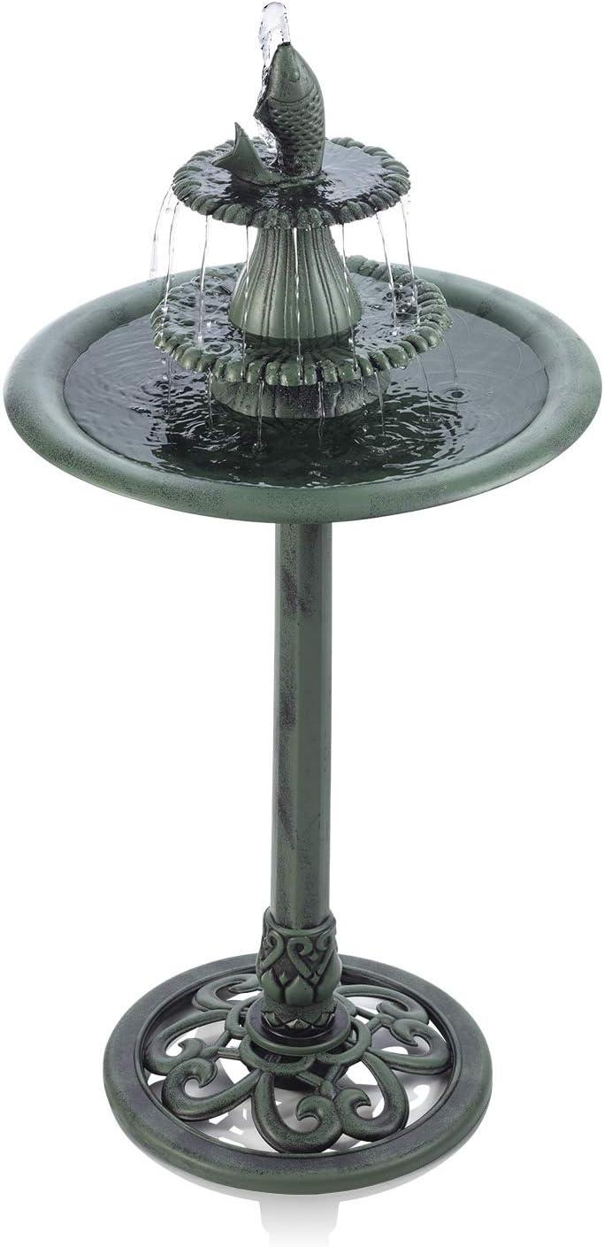 Alpine Corporation 3-Tiered Pedestal Water Bird Bath with Fish Design Floor Fountain, 40-Inch Tall, Green