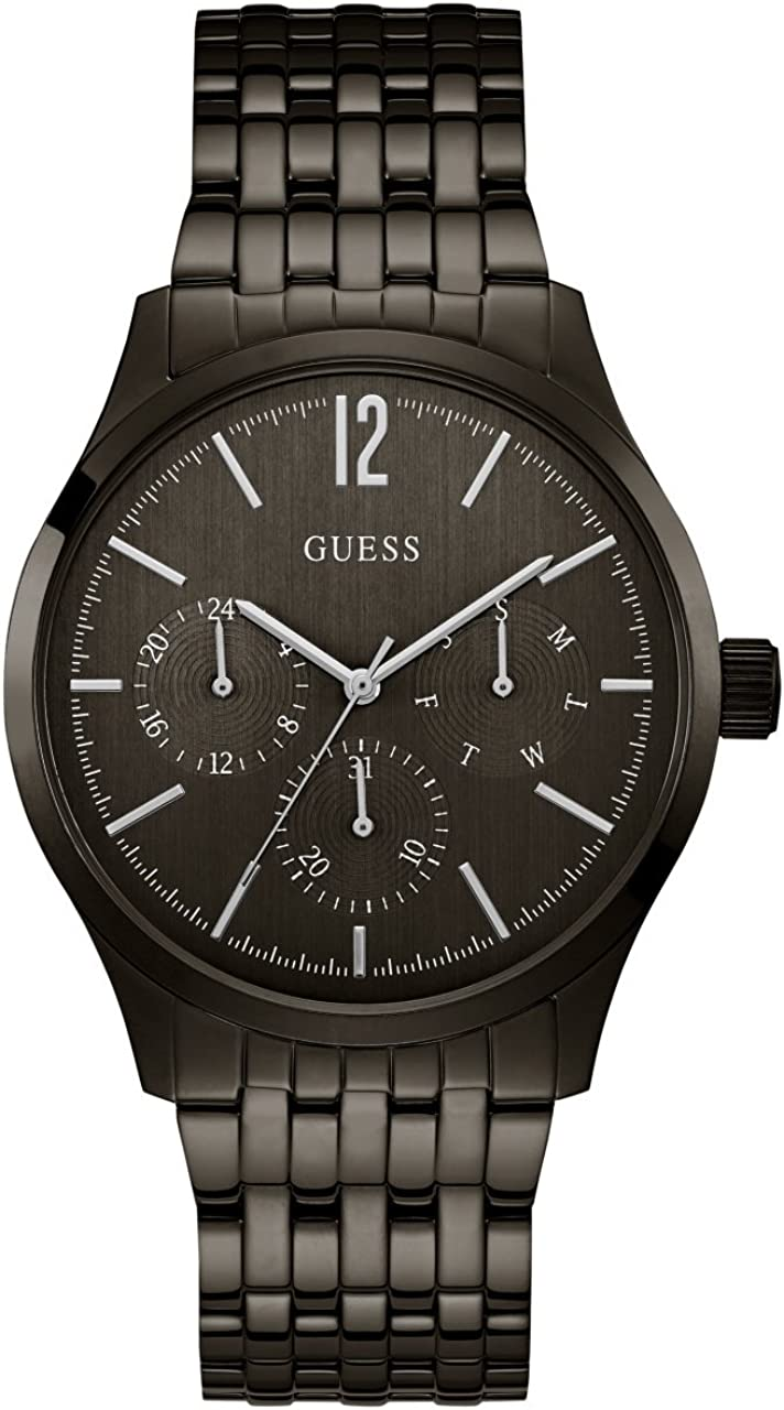GUESS Men s Stainless Steel Casual Watch with Day, Date 24 hr Int l Time Display