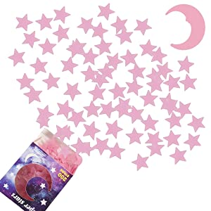Glow in The Dark Stars for Ceiling - AirXwills 200 Pcs Stars for Ceiling with Ultra Brighter Glow Moons Wall Decor, Kids Room Decor for Girls and Boys, 3D Glow Stars and Moon for Starry Sky. (Pink)
