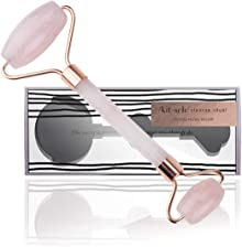 Kitsch Rose Quartz Roller for Face- Facial Roller to Reduce Aging Wrinkles & Puffiness Around Eyes & Neck