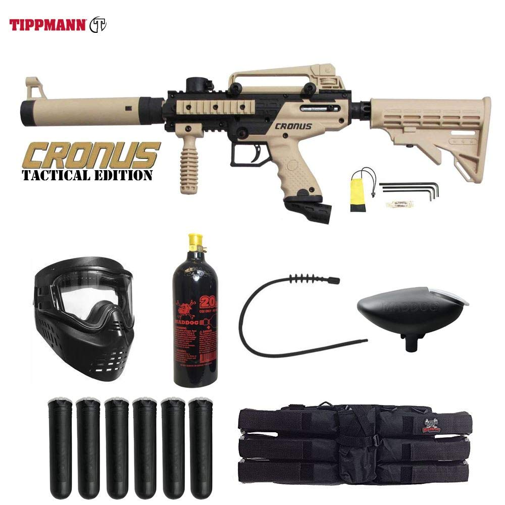 MAddog Tippmann Cronus Tactical Titanium Paintball Gun Package - Black/Tan by MAddog