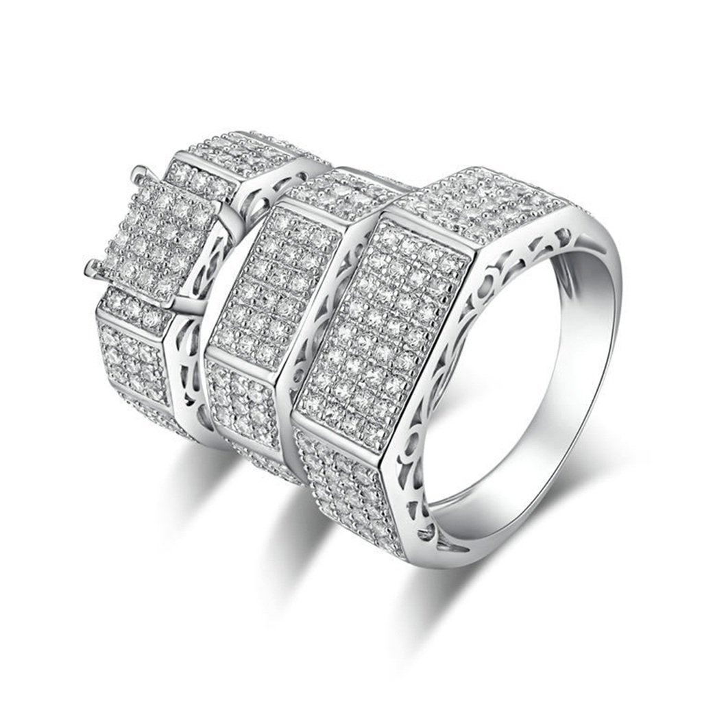 AmDxD Jewelry Silver Plated Men Customizable Rings Square CZ Triple Rings Size 9.5 by AMDXD