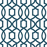 Wall Pops NU1648 Grand Trellis Peel and Stick Wallpaper, Navy