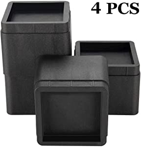 FONDDI Bed Risers 3 Inch Heavy Duty, Adjustable Bed and Furniture Risers for Sofas, Desks, Dorms, Tables and Chairs, Stackable 4 Pack Black