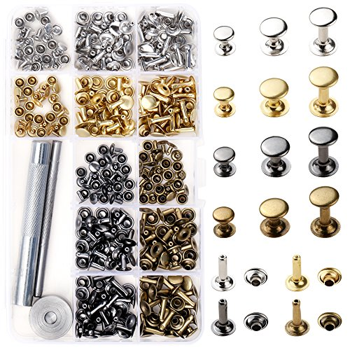 BYSOU Leather Rivets, 180 Set 3 Sizes Single Cap Rivet Tubular Metal Studs for DIY Leather Craft Rivets Replacement by BYSOU