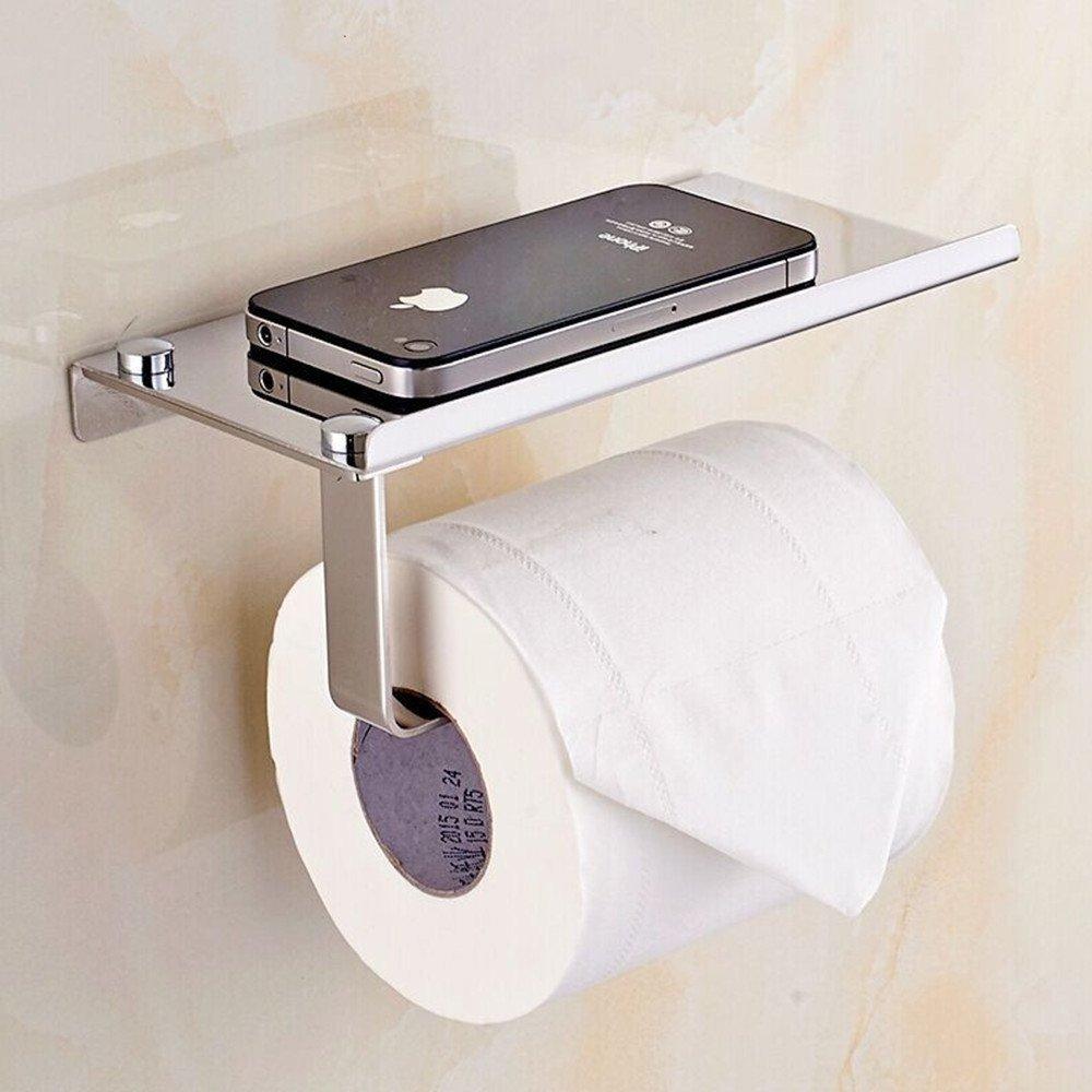 L&HM 304 Stainless Steel Wall Mount Toilet Paper Holder/Bathroom Tissue Holder/Toilet Roll Holder with Mobile Phone Storage Shelf