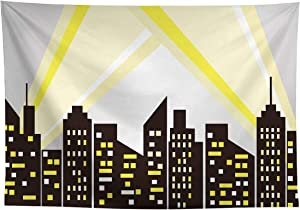 Allenjoy 7x5ft Superhero Cityscape Backdrop Night Buildings Great as Super Hero Bat City Photo Booth Background Boys 1st Birthday Party Decors Customizable Banner Decorations Baby Shower Studio Props
