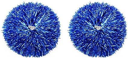 Metallic Foil /& Plastic Ring Pompoms 2 Pack Cheerleading Poms,Gold Red Blue HUTLON Pom Poms Cheerleading,Cheerleader Pom Poms for Girls Cowboys