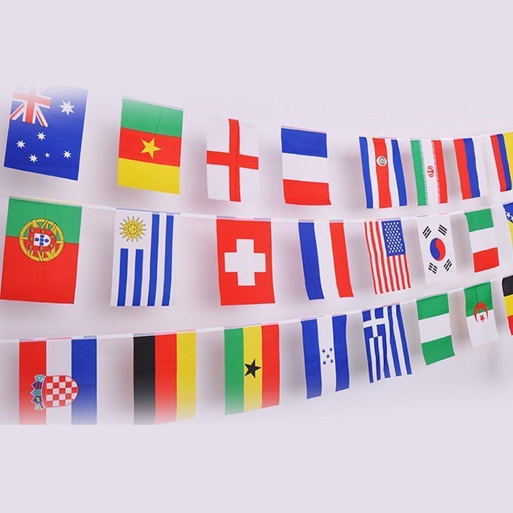 50 banderas de países diferentes, banderas internacionales del mundo, Guirnalda de Banderas para Bar,decoración de fiesta(14 cm x 21 cm): Amazon.es: Hogar