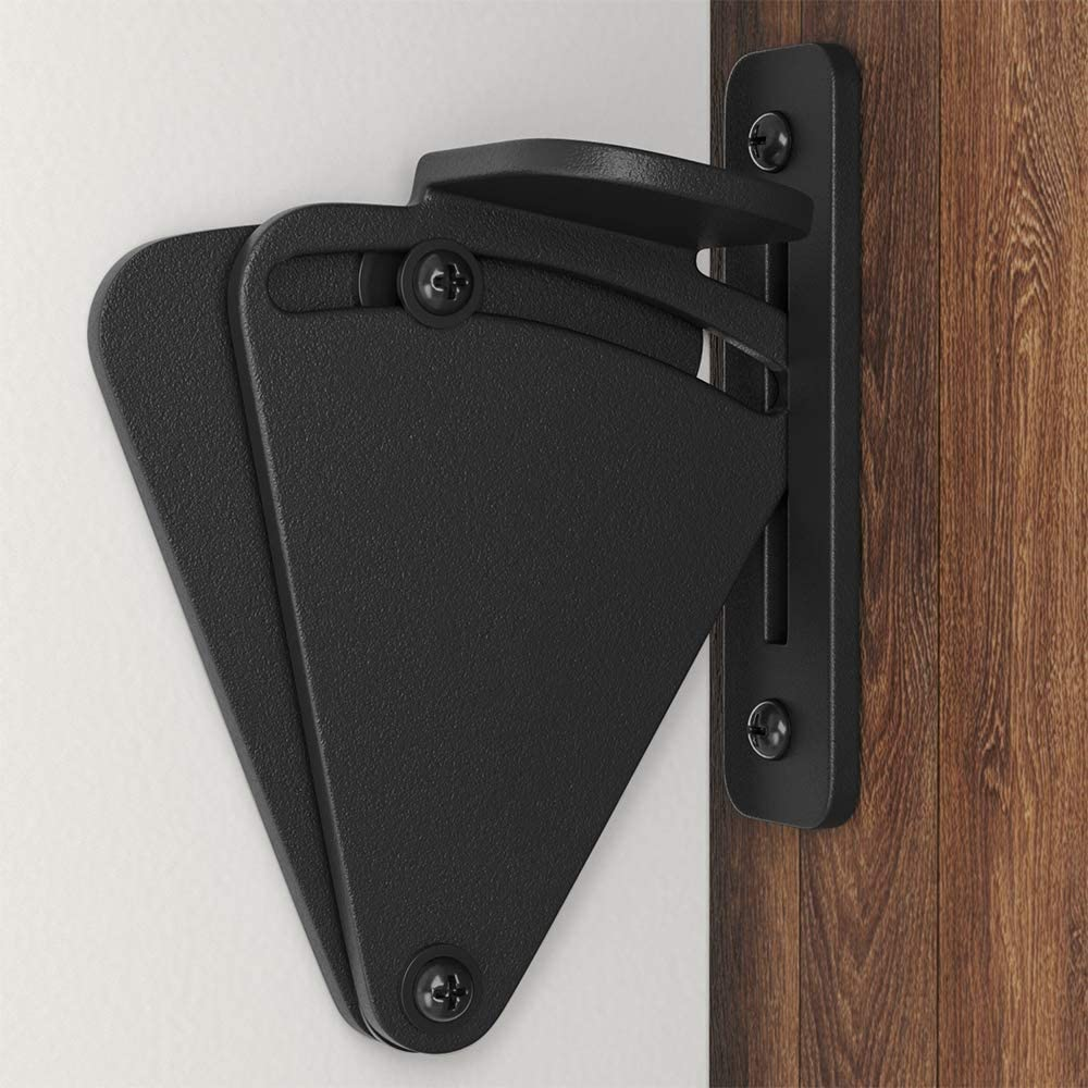 WINSOON Barn Door Lock Hardware Black Steel Sliding Privacy Latch for Closet Shed Pocket Doors Wood Gates - Black